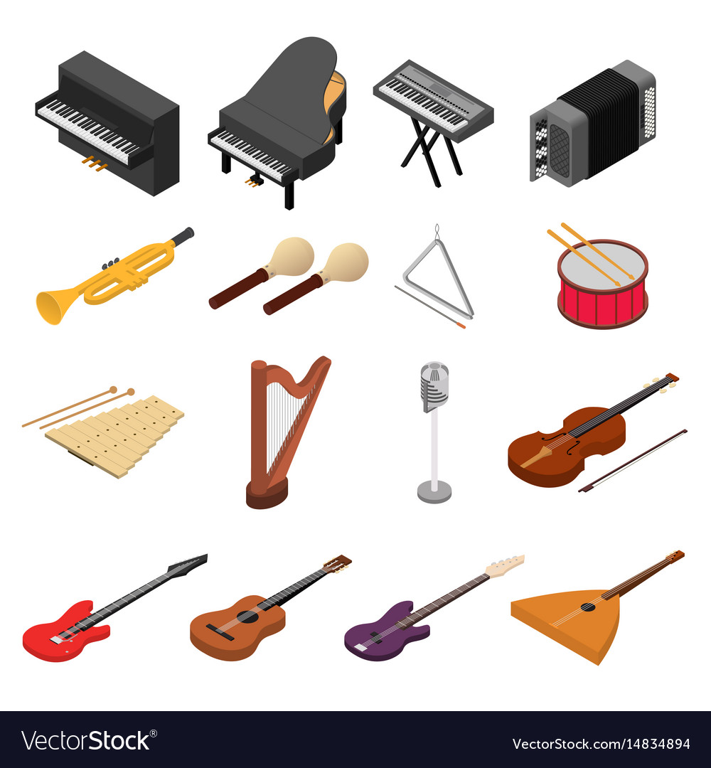 Music instruments color icons set isometric view