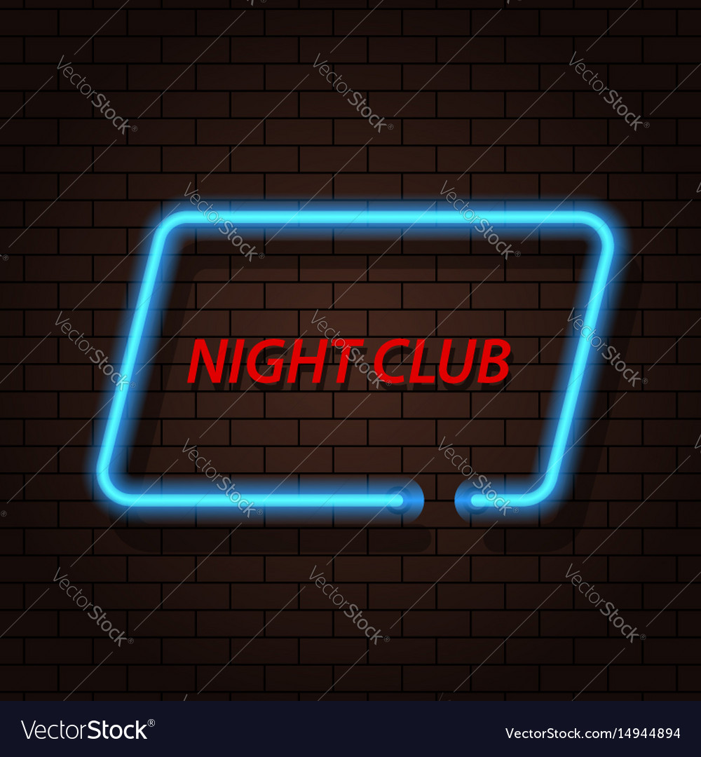 Neon signboard nightclub on a brick background