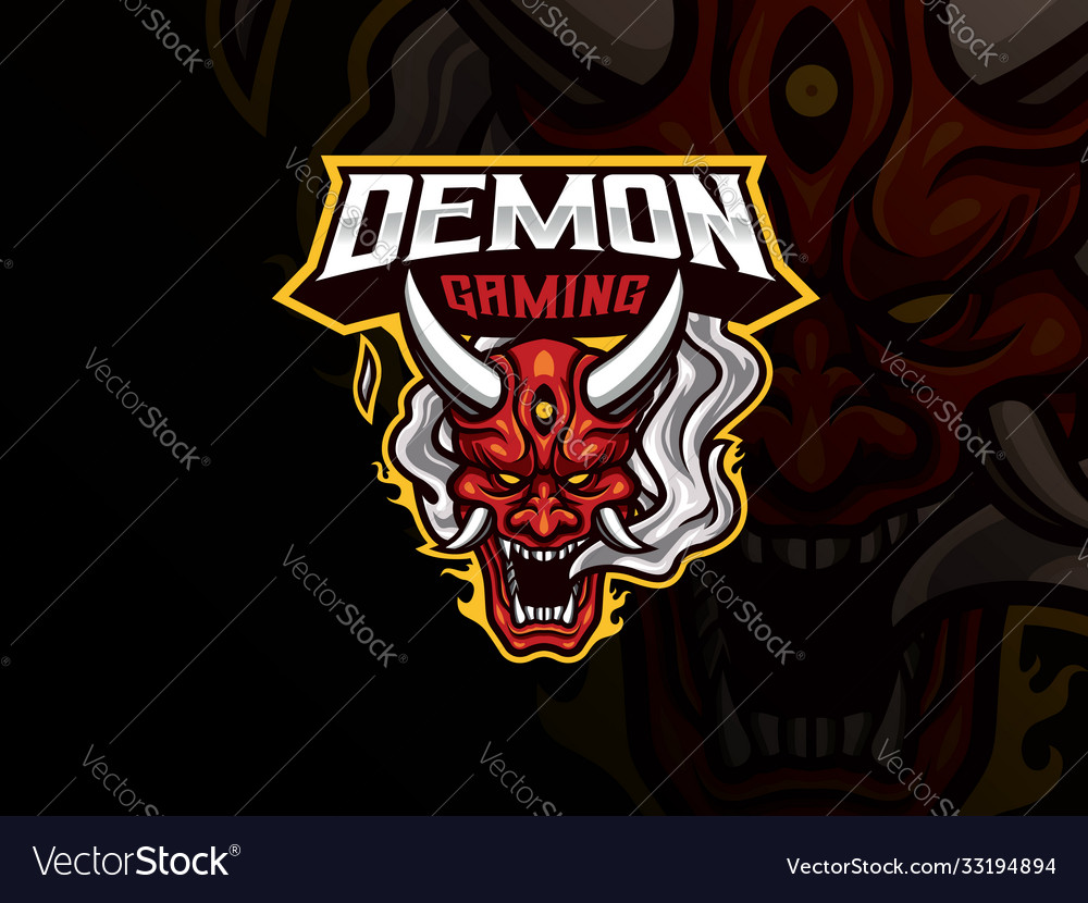 Oni demon mascot sport logo design