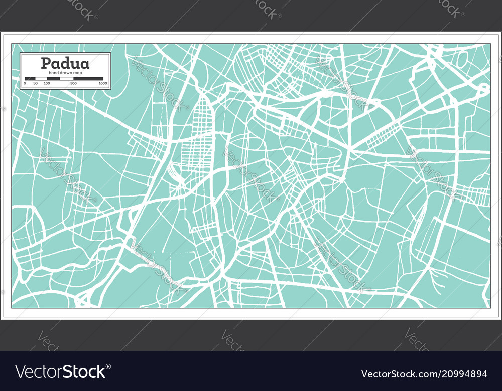Padua Italy City Map In Retro Style Outline Map Vector Image