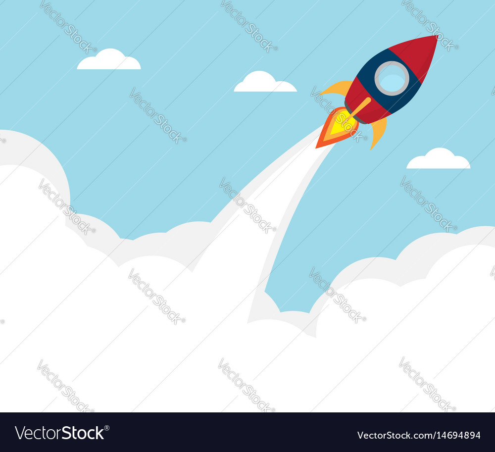 Rocket launcher start up concept vector image