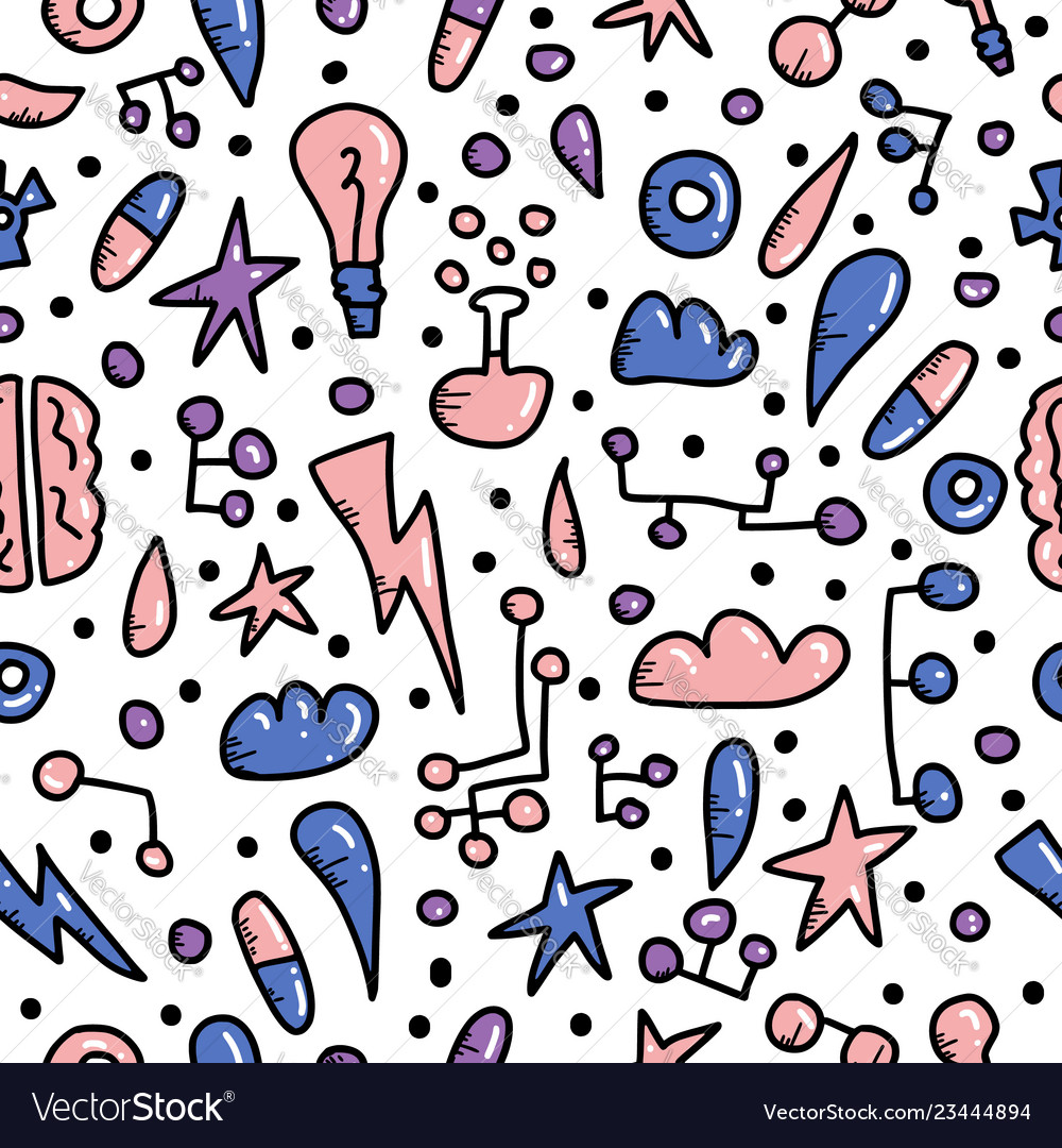 Seamless pattern of innovation in doodle style