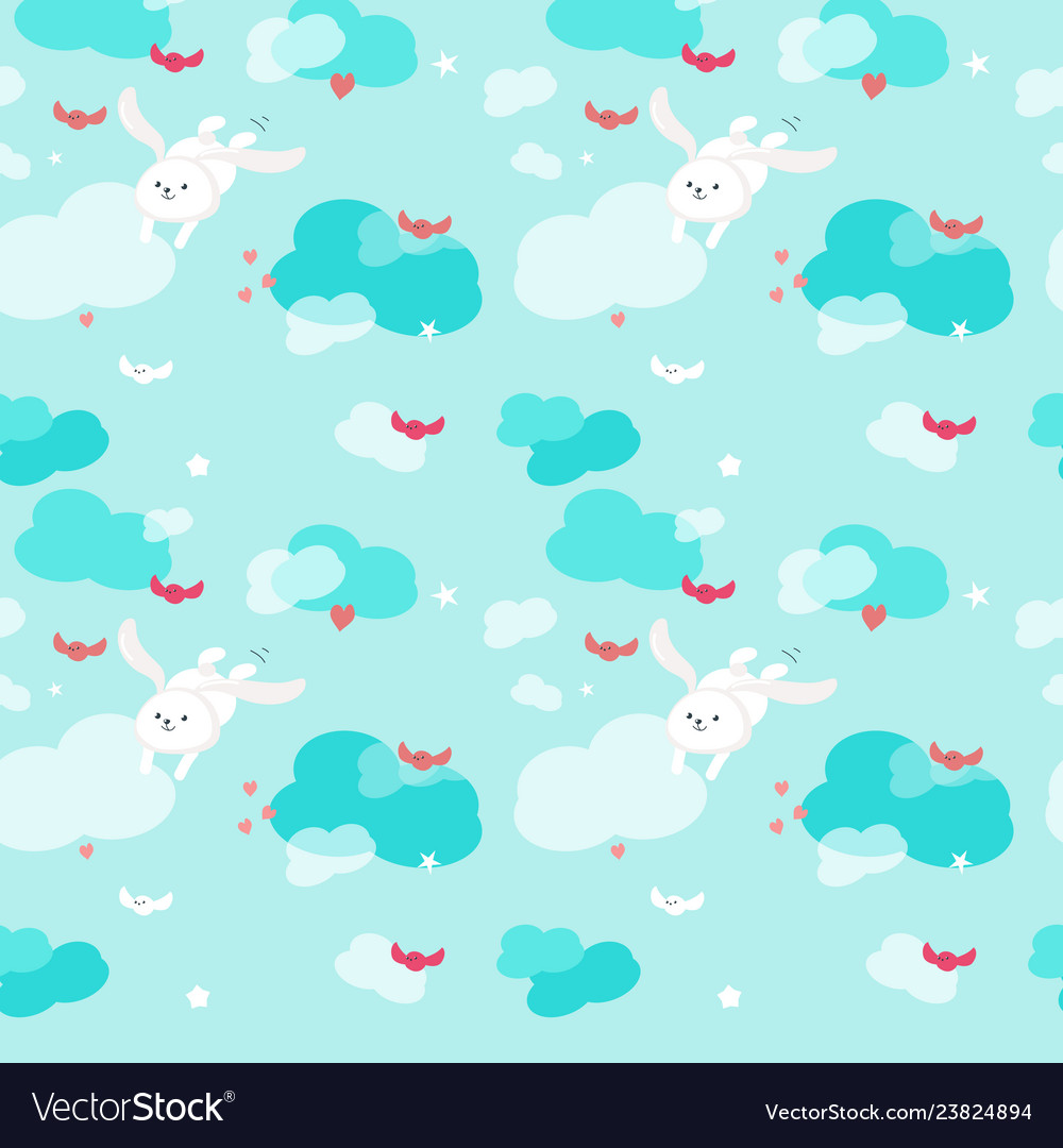 Seamless pattern with cute flying rabbits