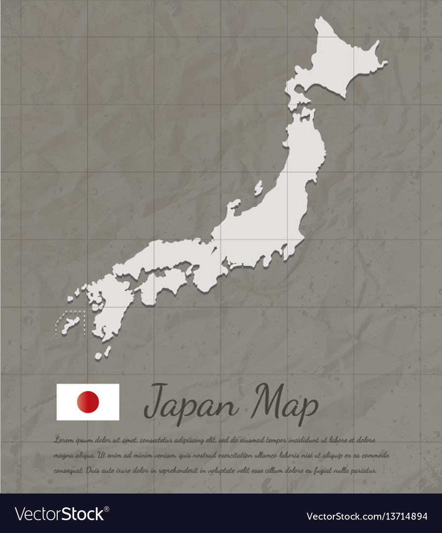 Vintage japan map paper card map silhouette