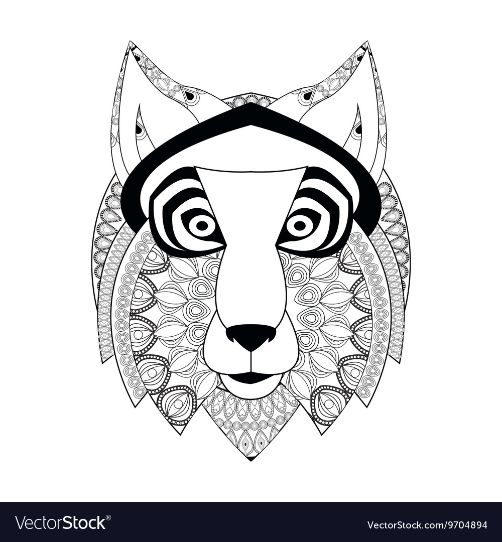 Wolf icon Animal and Ornamental predator design vector image