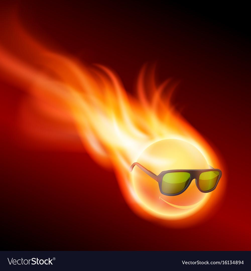 Yellow burning ball wearing sunglasses