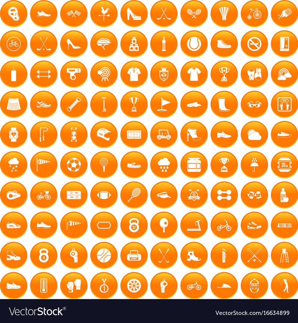 100 sneakers icons set orange