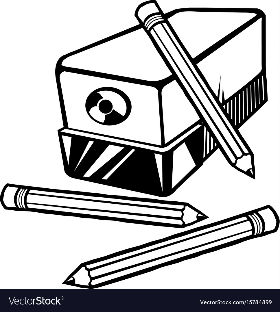 an electric pencil sharpener with pencils vector image