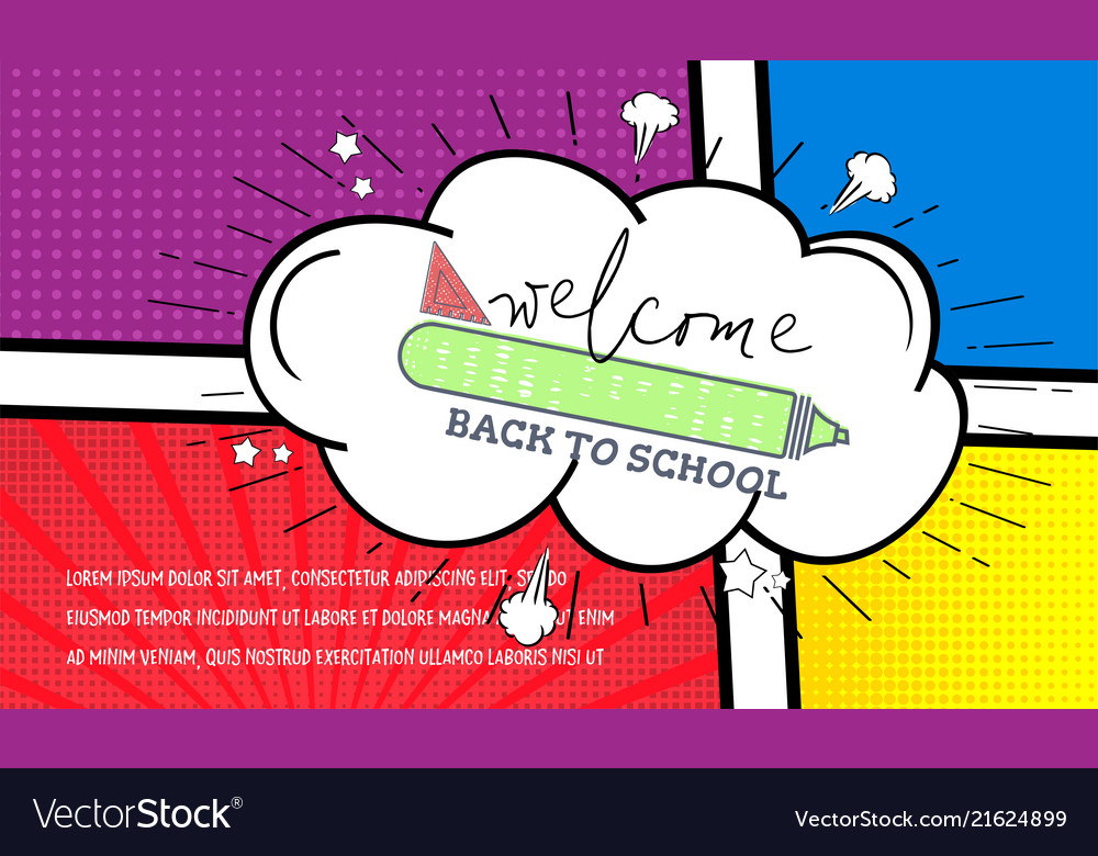 Back to school banner pop art comic style