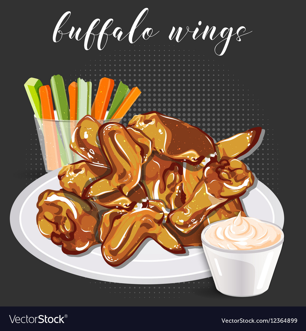 Buffalo wings celery with carrot and blue cheese
