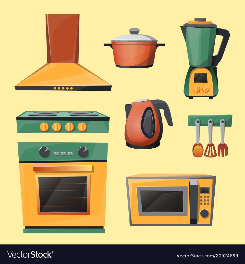 Cartoon Set Of Household Kitchen Appliances