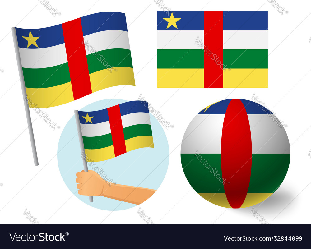 Central african republic flag icon set