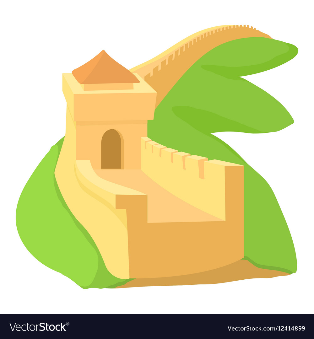 Chinese wall icon cartoon style Royalty Free Vector Image