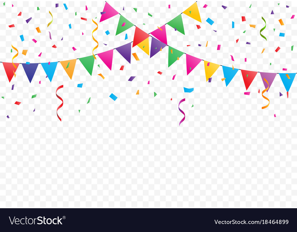 colorful flags with confetti background royalty free vector
