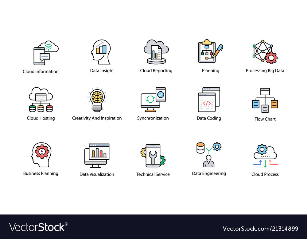 Data science colored icons set