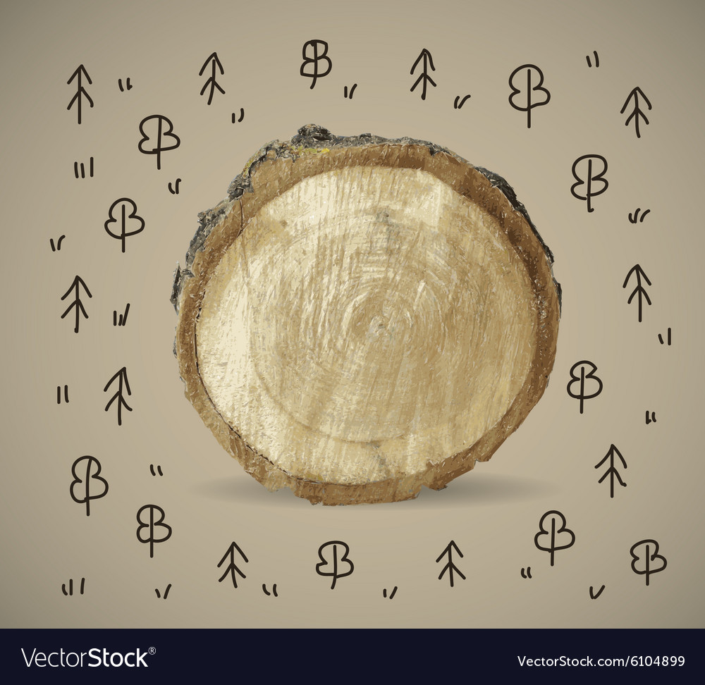 Forest and wood nature object with doodles