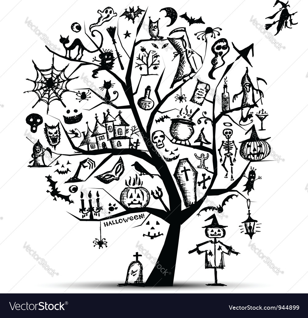 halloween tree for your design royalty free vector image