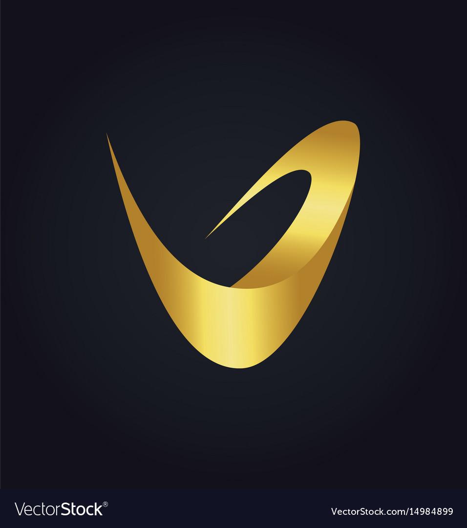 Letter v abstract gold logo