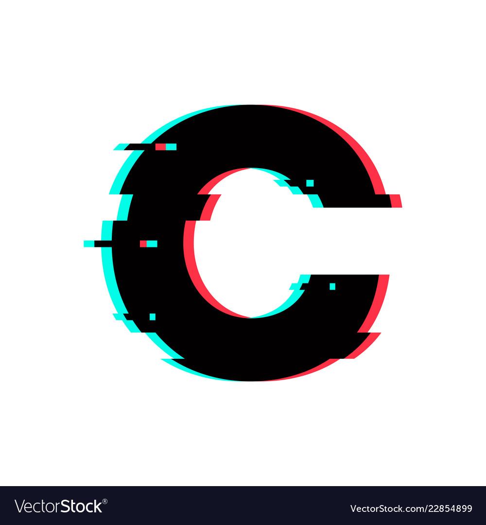 C Logo: Logo Letter C Glitch Distortion Royalty Free Vector Image