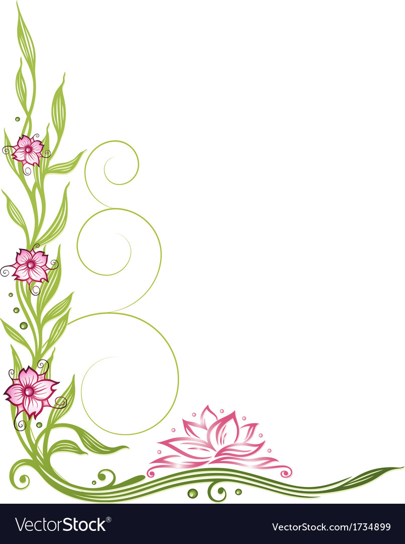 Lotus Flower Border Royalty Free Vector Image Vectorstock