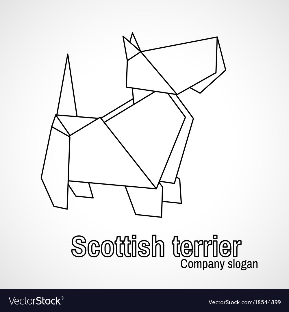 Outline Origami Dog Terrier Royalty Free Vector Image