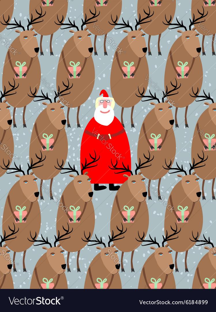 Santa Claus with reindeer seamless pattern
