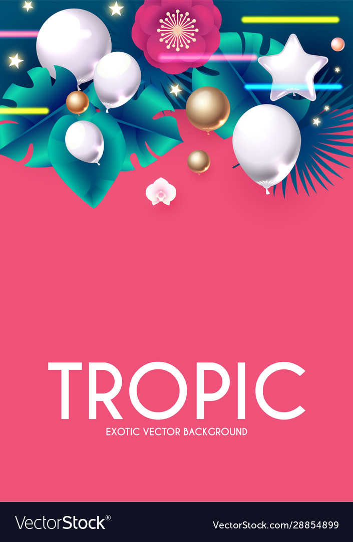 Tropic summer exotic design with palm leaves