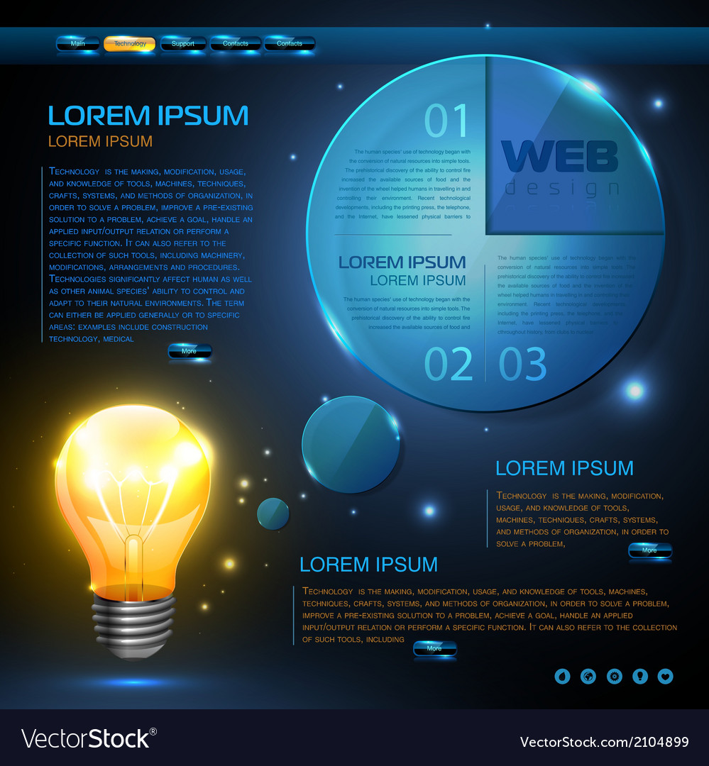 website template design technology background vector image
