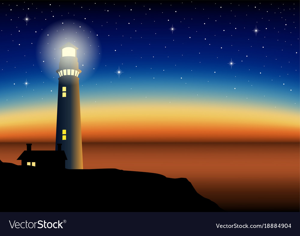 A lighthouse during sunset