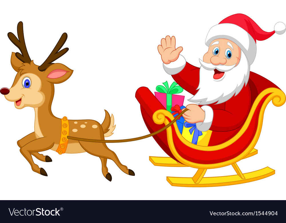 Cartoon Santa drives his sleigh