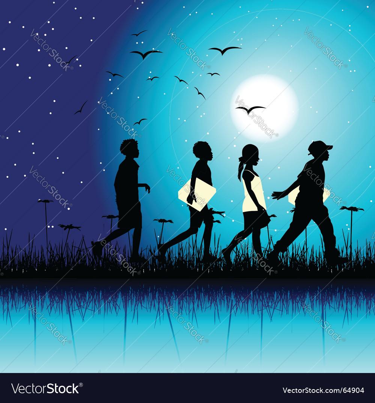Children at night vector image