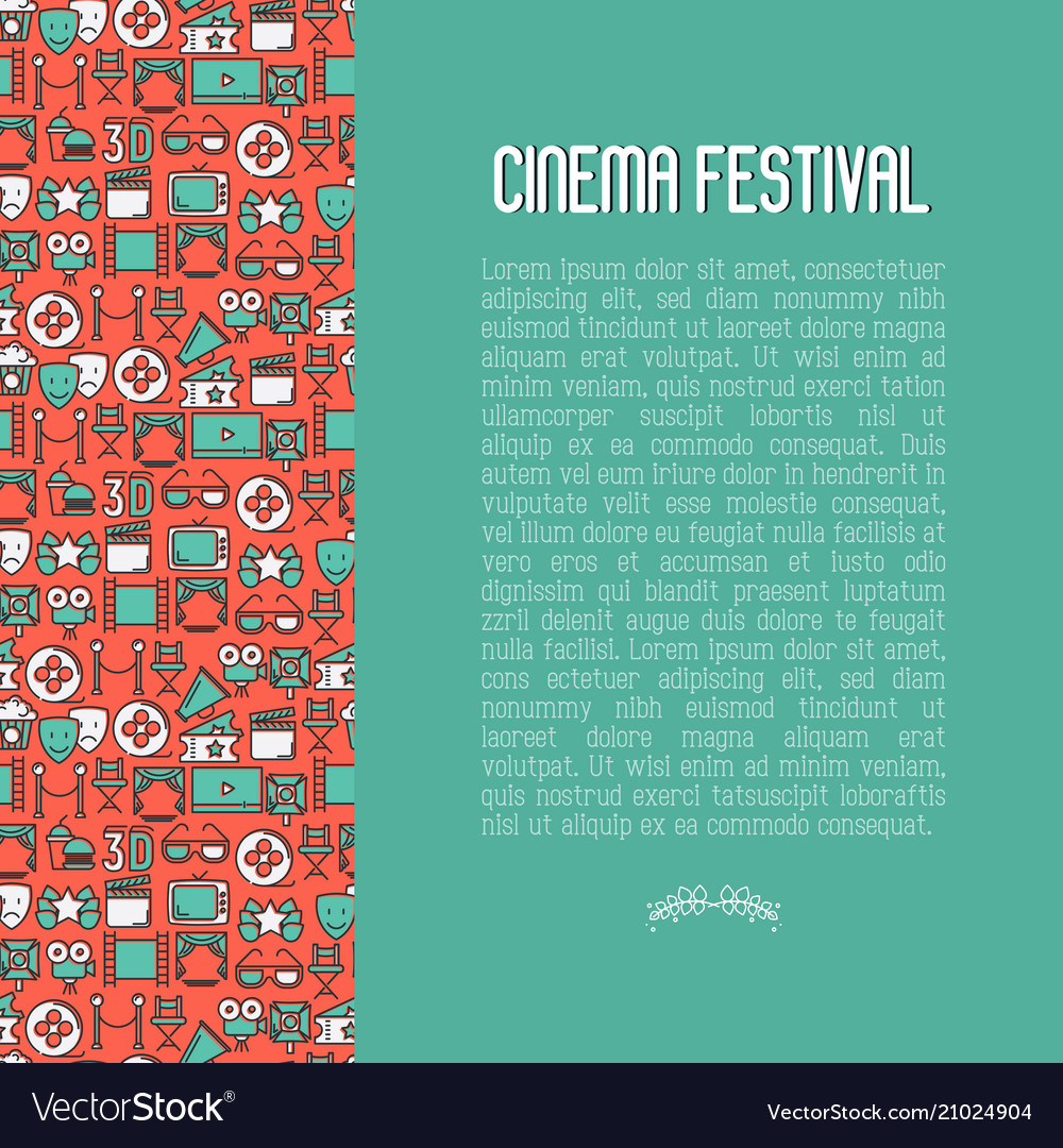 Cinema festival concept with thin line icons