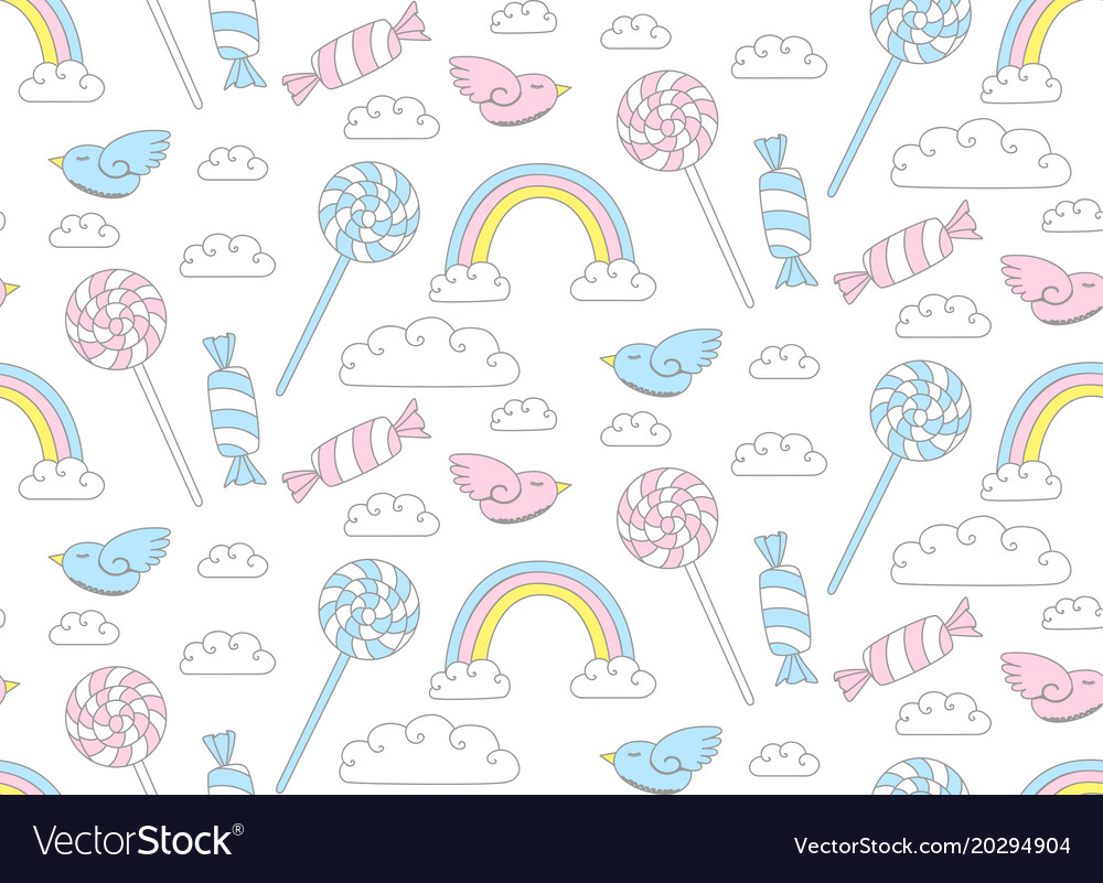 Cute candy pattern bird with rainbow