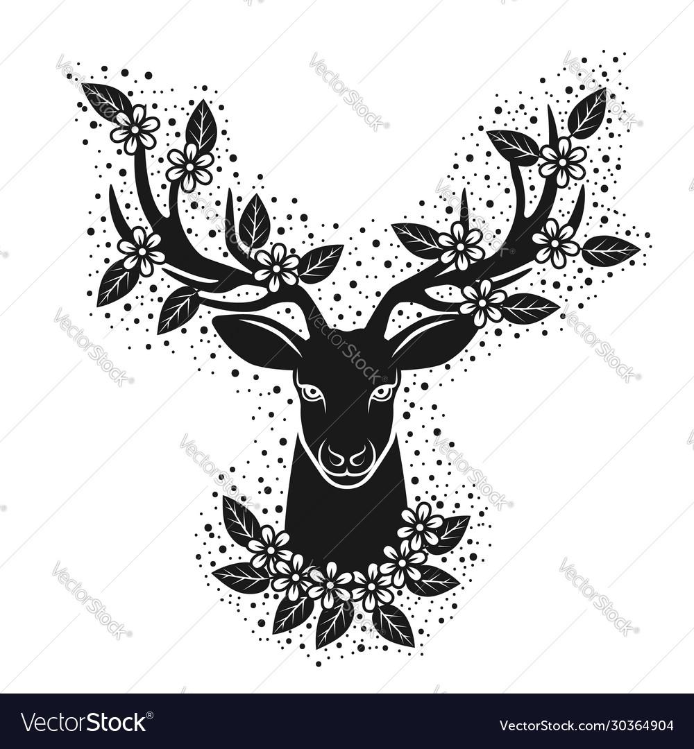 Deer head silhouette in blooming flowers design