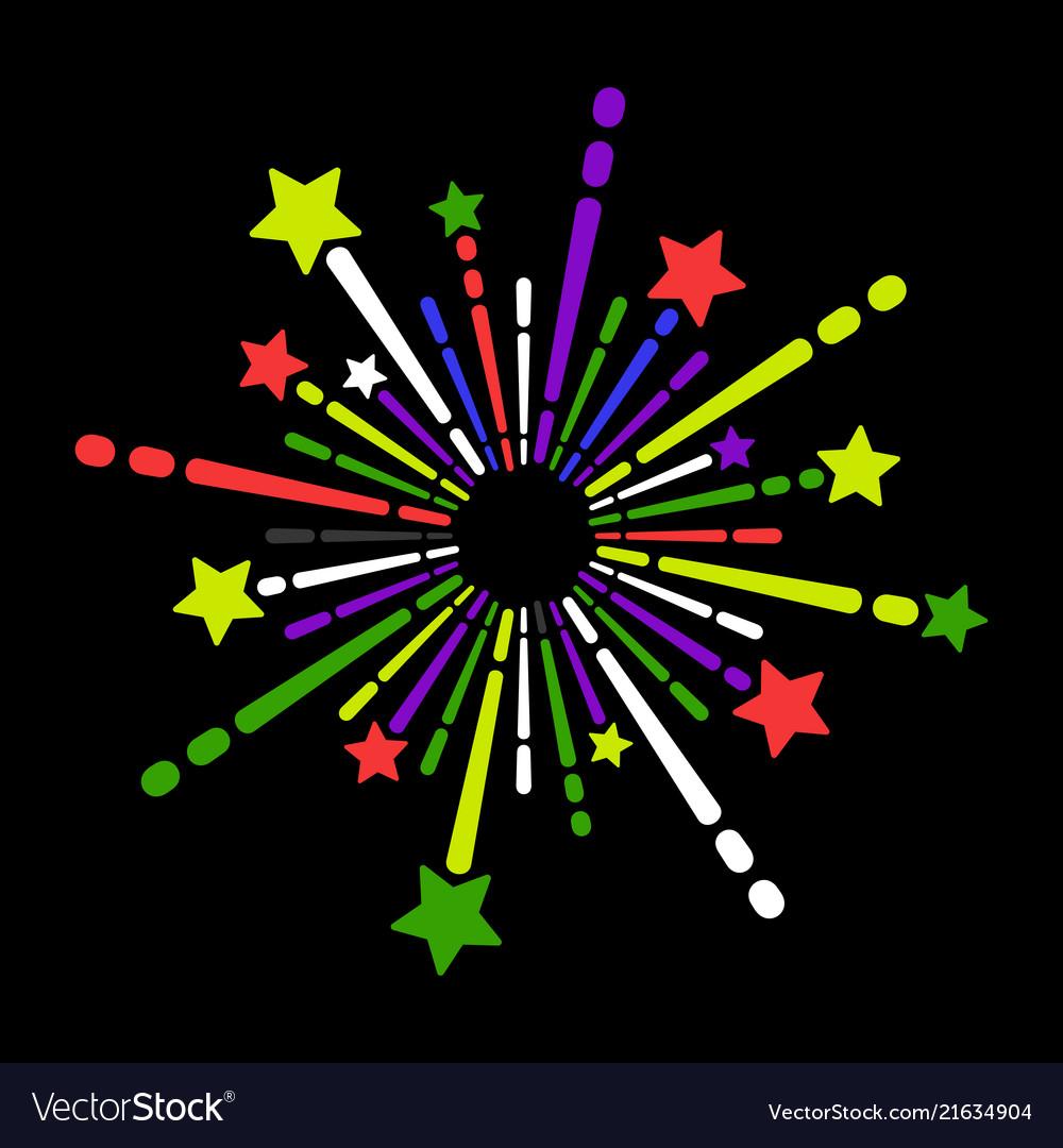 Exploding fireworks icon on black background