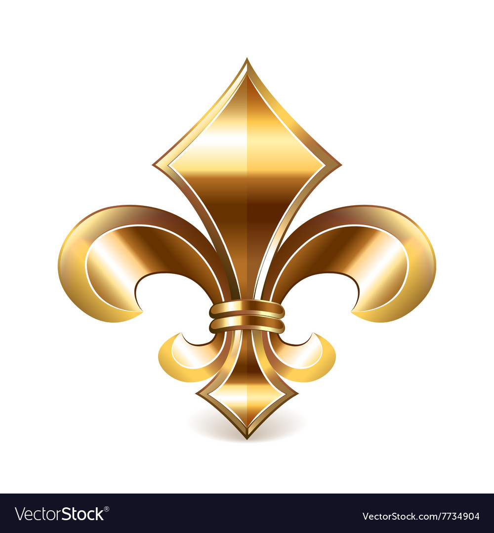 Fleur de lis gold isolated on white