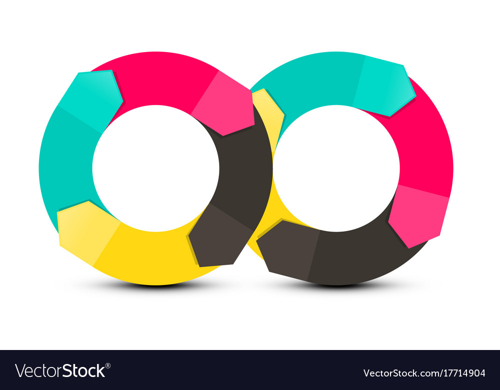 Infinity symbol paper arrows objects isolated on vector image