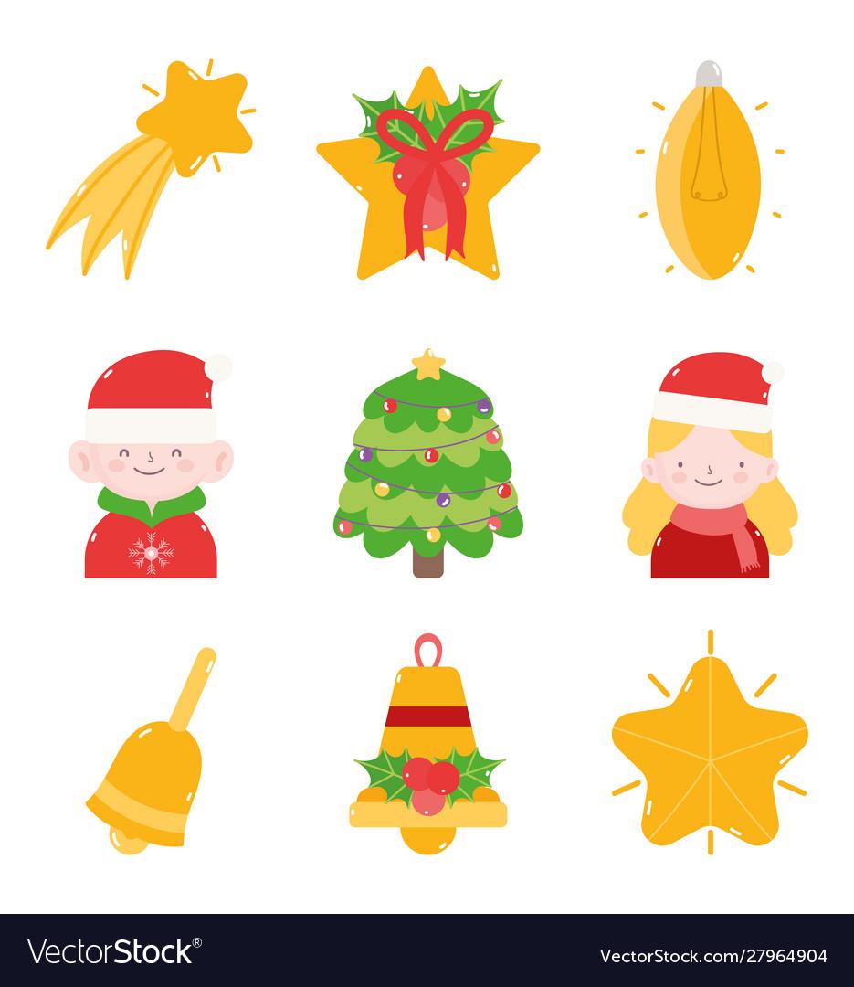 Merry christmas decoration ornament icons set