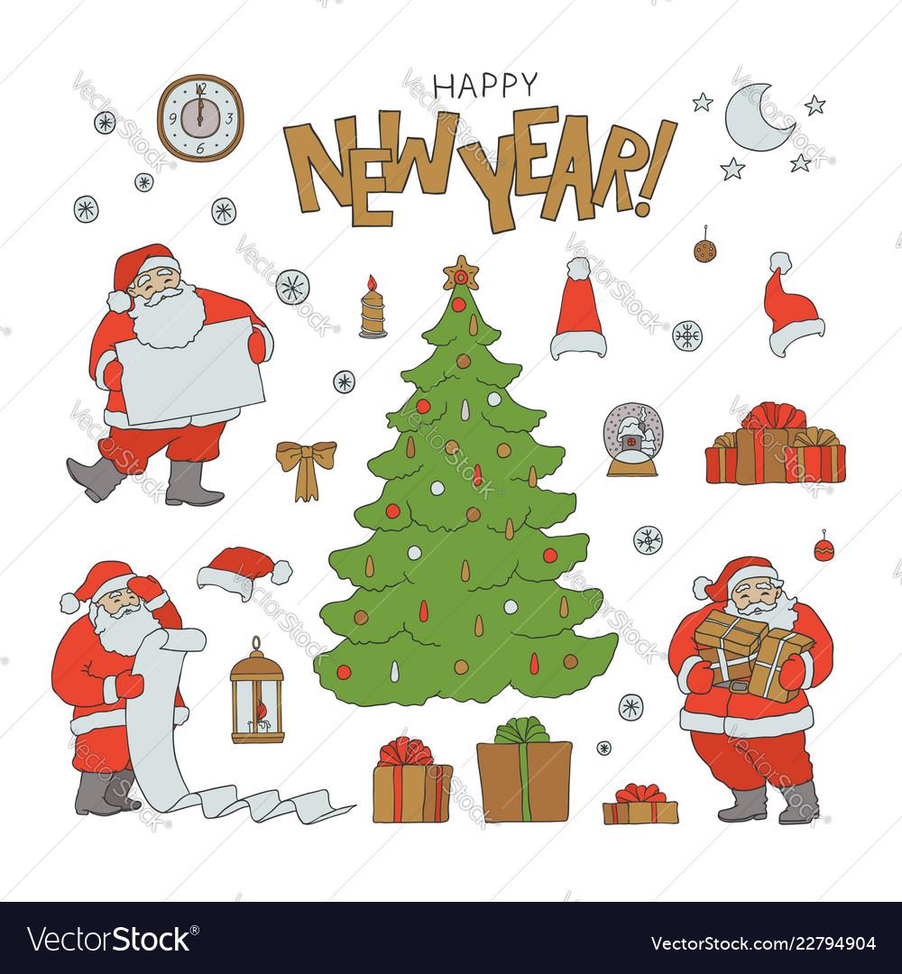 5626c58a80e New year set santa claus holiday symbols Vector Image