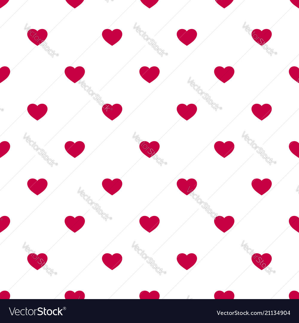 Seamless pattern with small red hearts on white bg