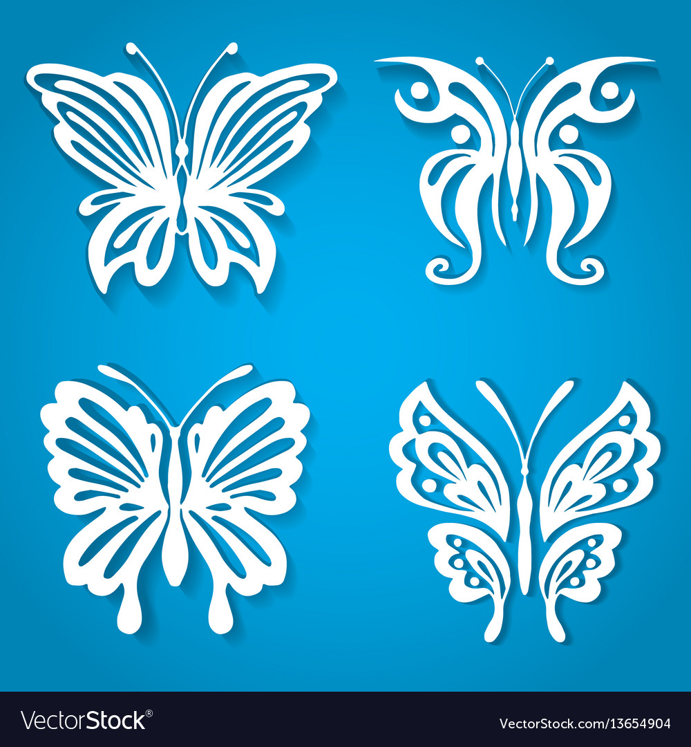 Set of decorative butterfly decorated with