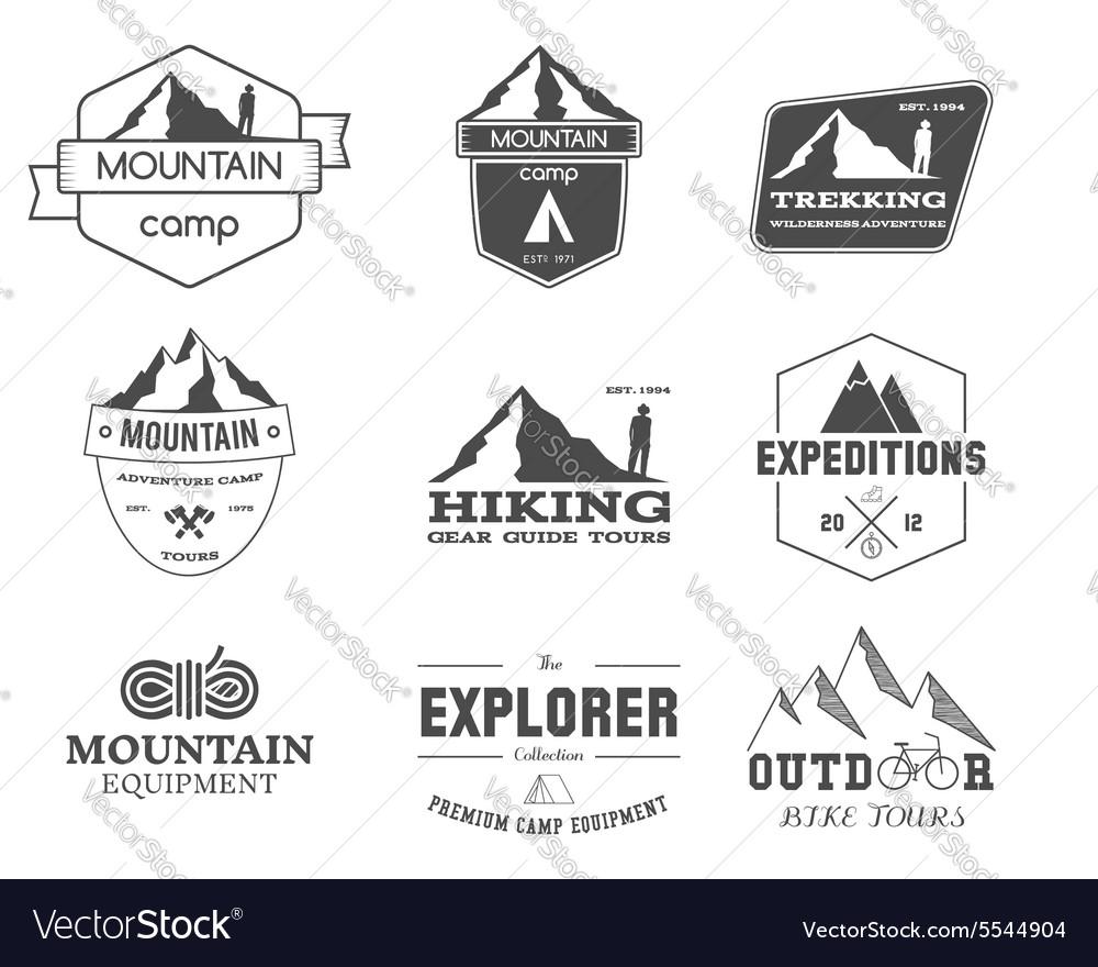 Set of monochrome outdoor adventure explorer camp