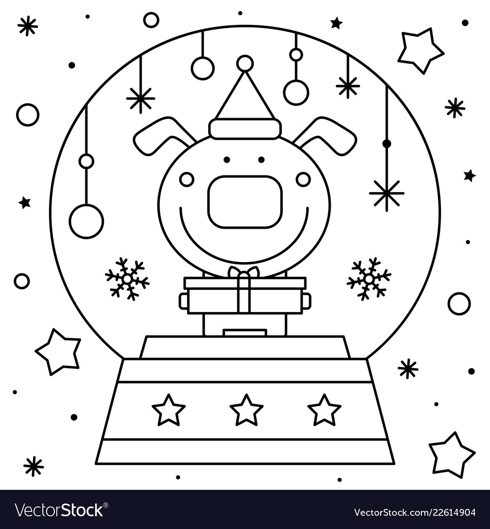 Snow Globe With A Dog Coloring Page Black And