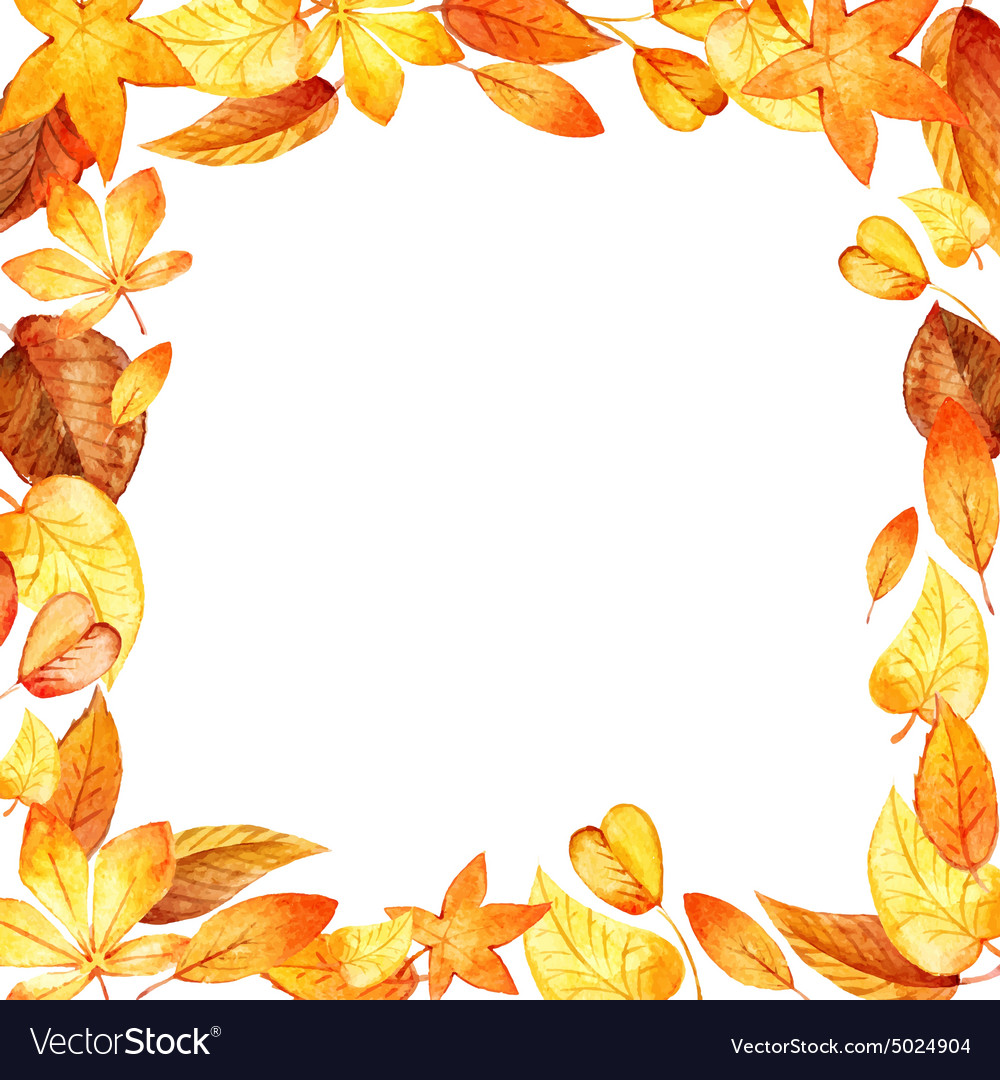 Watercolor leaves square frame
