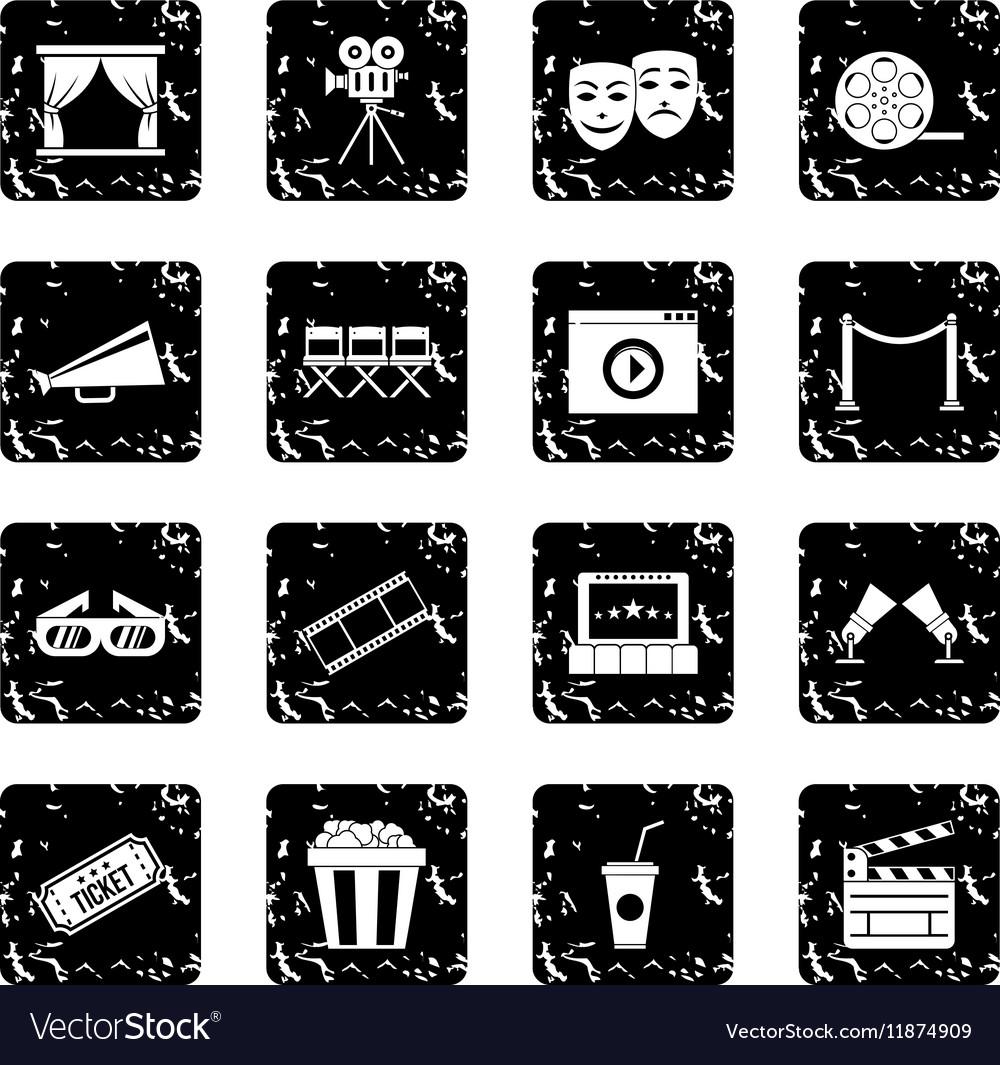 Cinema set icons grunge style