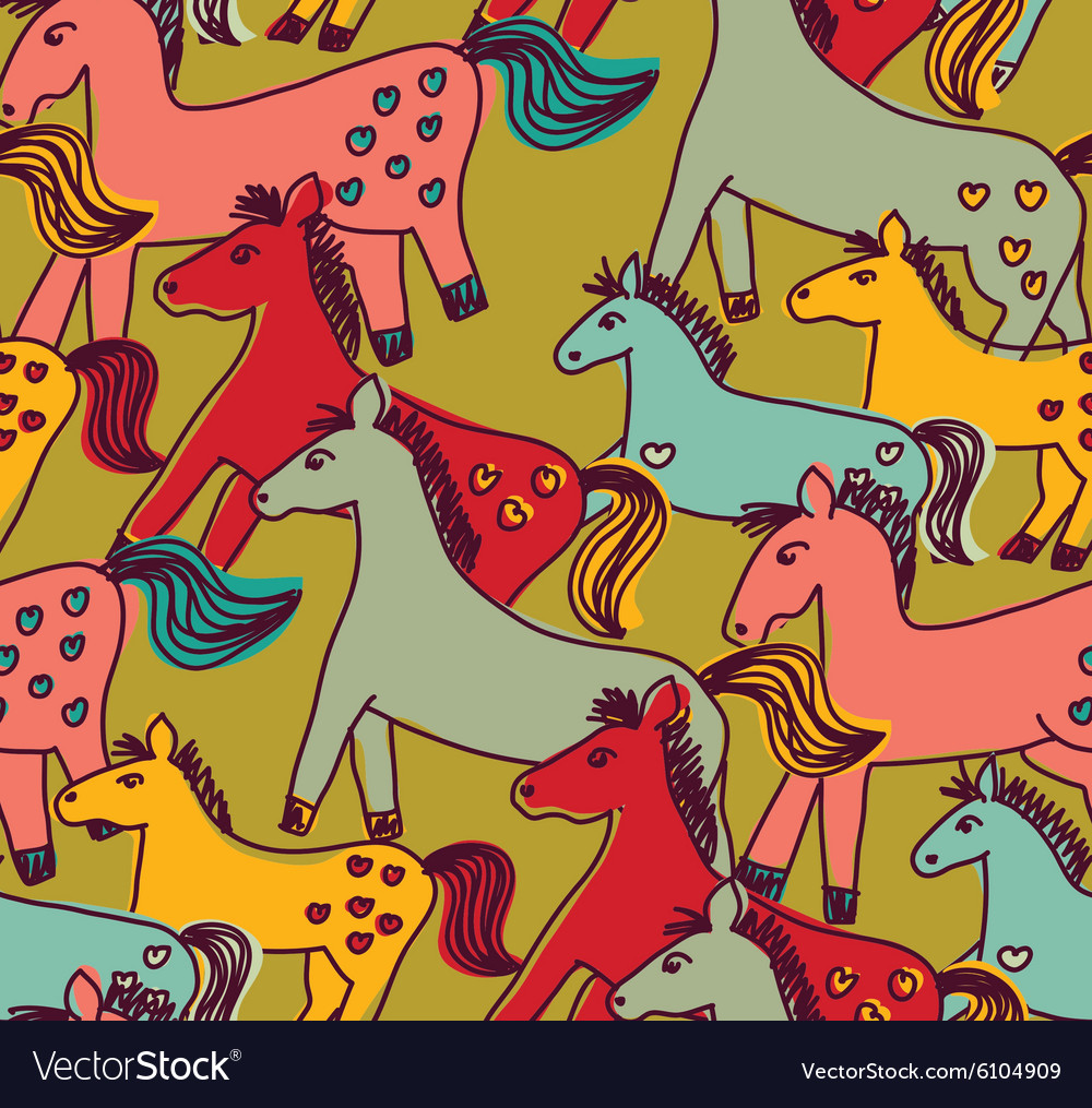 Horses seamless pattern color