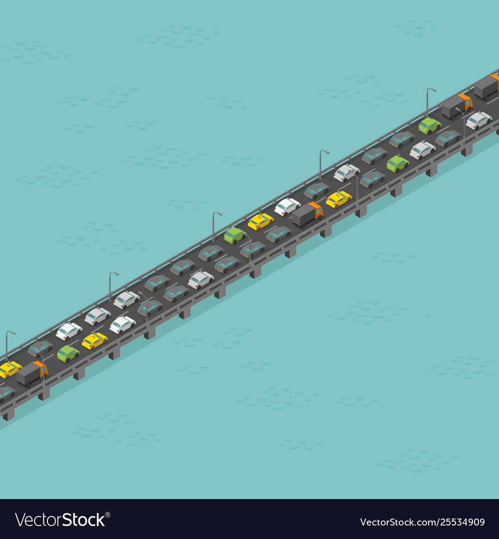 Isometric bridge road high traffic long elevated