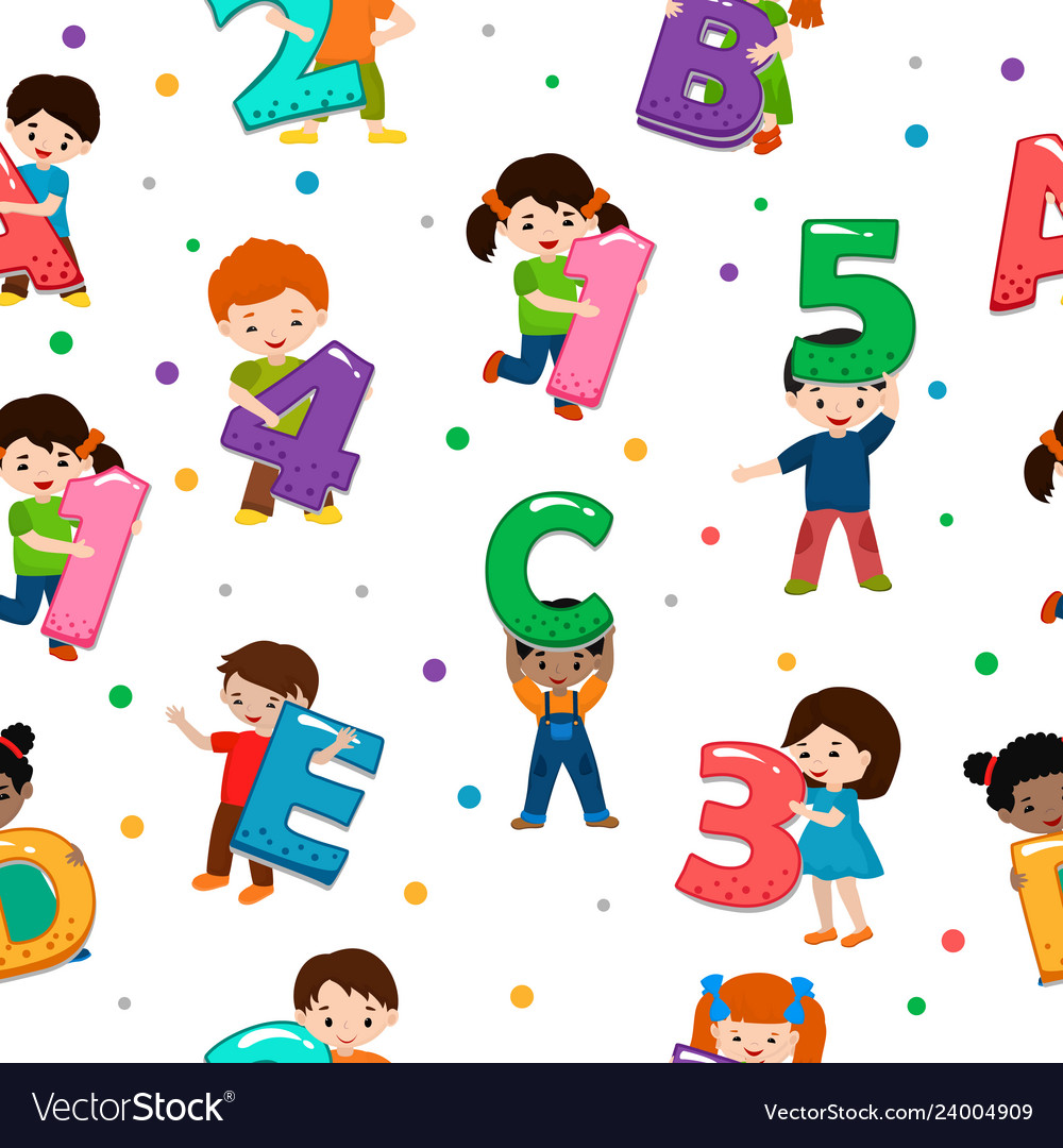 Kids alphabet children font and boy or girl