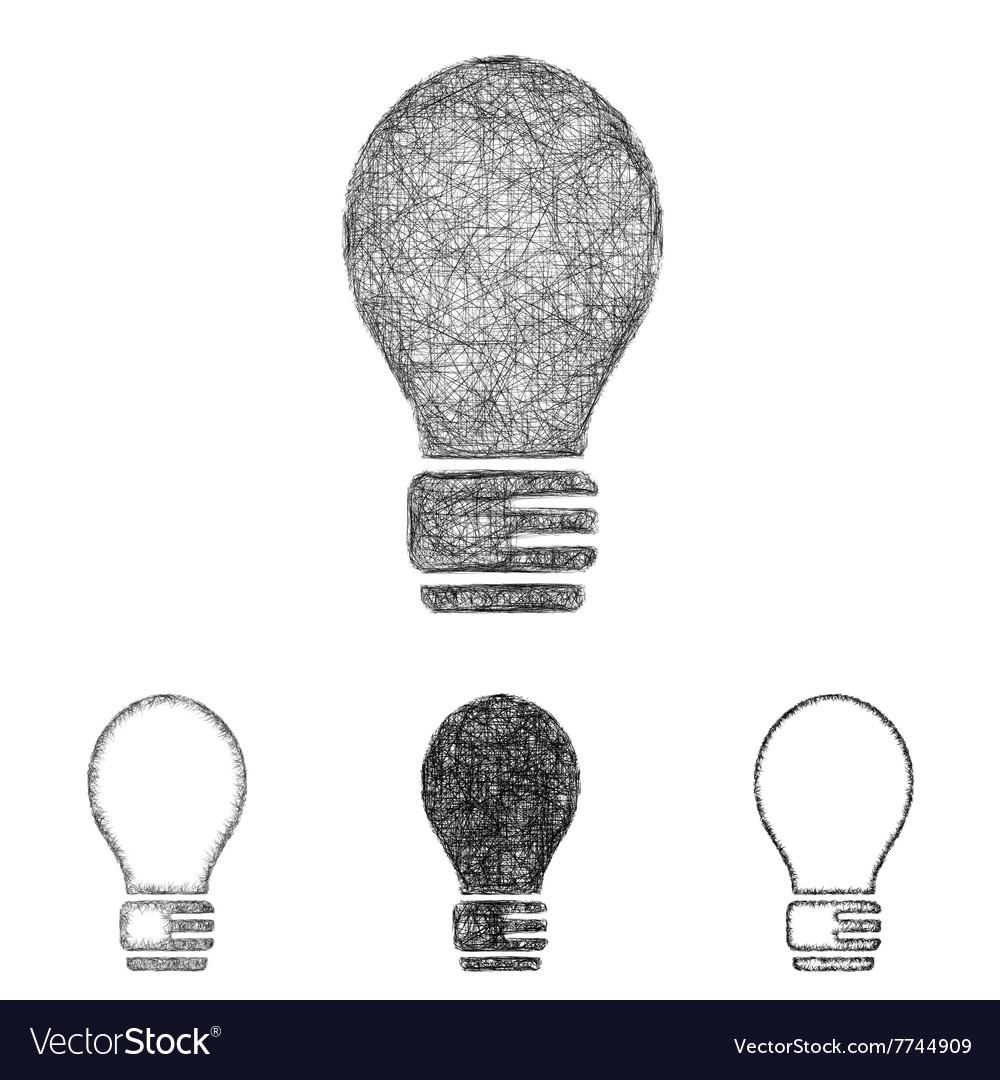 Lightbulb icon set - sketch line art vector image