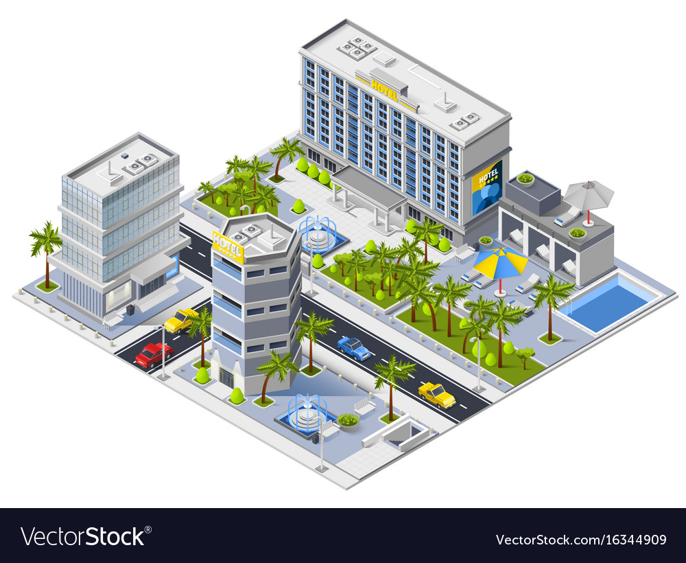 Luxury hotel buildings isometric design concept vector image for Design hotel deck 8